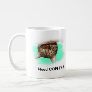 Bengal Cat Need Coffee Basic White Mug