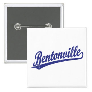 Bentonville script logo in blue 15 cm square badge