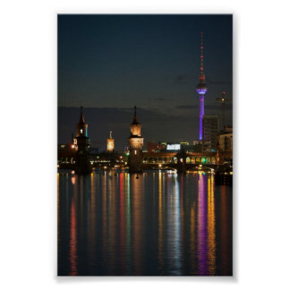 Berlin Alexanderplatz Oberbaum Bridge night Poster