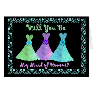 BEST FREND - Maid of Honour - Blue Green Purple Greeting Card