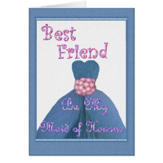 BEST FRIEND Maid of Honour PERIWINKLE Dress Greeting Card