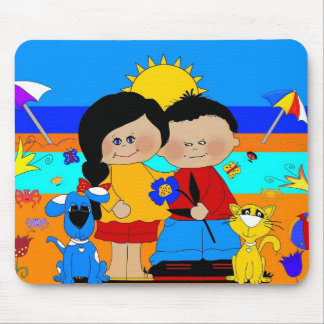 Best Friends Boy Girl Dog Cat Mouse Pad