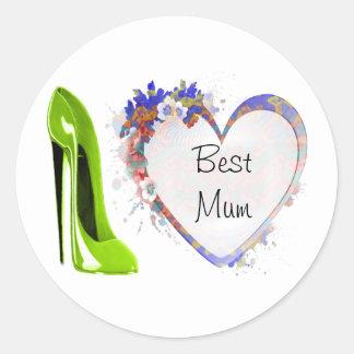 Best Mum Lime Green Stiletto Shoe and Floral Heart Round Sticker