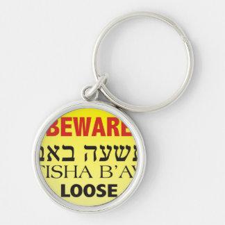 Beware Tisha B'Av Loose Silver-Colored Round Key Ring