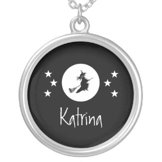 Bewitching Halloween Necklace, Black Round Pendant Necklace