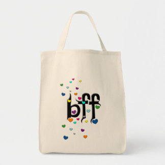 bff ~ hearts grocery tote bag