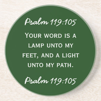 Bible passage Psalm 119:105 in white text. Beverage Coaster
