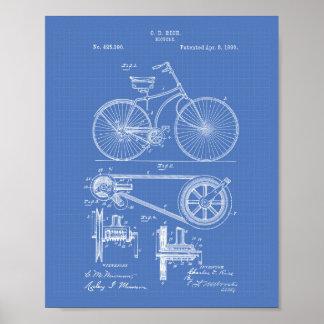 Bicycle 1890 Patent Art - Blueprint Poster