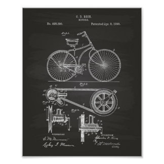 Bicycle 1890 Patent Art - Chalkboard Poster