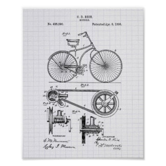 Bicycle 1890 Patent Art - Lined Peper Poster