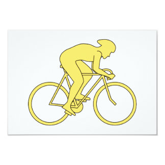 Bicycle Rider in Yellow. 9 Cm X 13 Cm Invitation Card