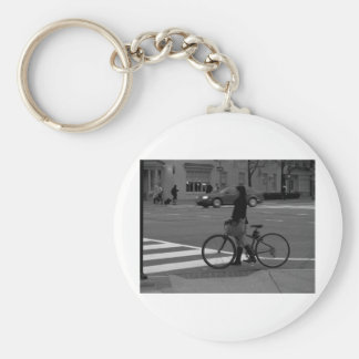 Bicyclist Basic Round Button Key Ring