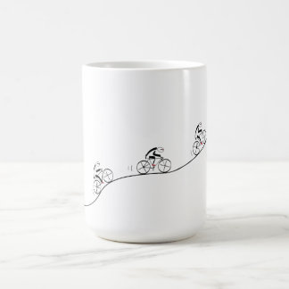 Bicyclist going over the hill basic white mug