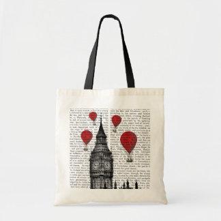 Big Ben and Red Hot Air Balloons Budget Tote Bag