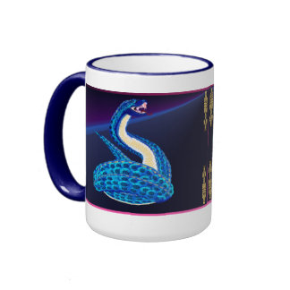 Big Blue Snake From Some Interesting Place Ringer Mug