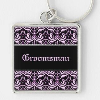 Big Bold Damask (Pink) (Wedding) Silver-Colored Square Key Ring