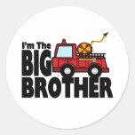 Big Brother Fire Truck Round Sticker