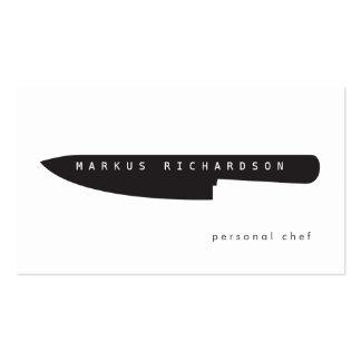 Big Chef Knife Logo for Personal Chef, Catering Pack Of Standard Business Cards