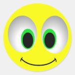 BIG EYES SMILEY FACE ROUND STICKER