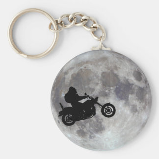 Big foot, big bike and a big bright moon basic round button key ring