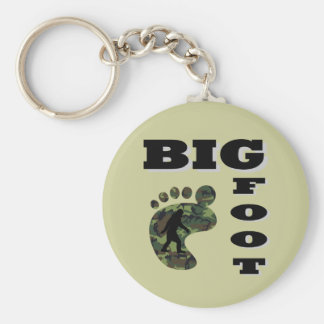Big foot with foot logo basic round button key ring