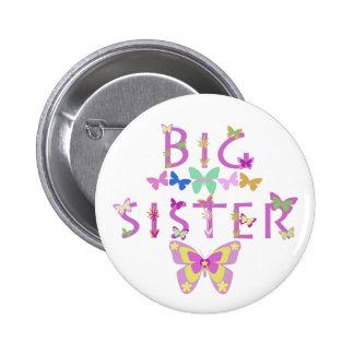 Big Sister, butterflies & flowers button