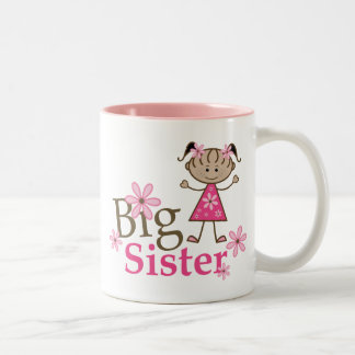 Big Sister Ethnic Stick Figure Girl Two-Tone Mug