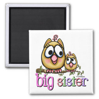 Big Sister little Sis Square Magnet