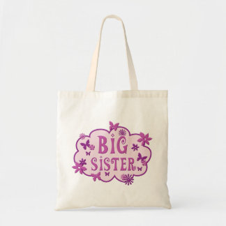 Big Sister Pink Flower Butterfly Tote Budget Tote Bag