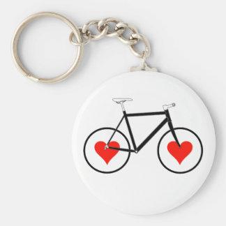 Bike Heart Wheels Basic Round Button Key Ring