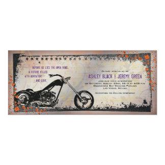 Biker or Motorcycle Wedding Invitation - Purple