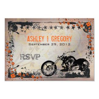 Biker or Motorcyle Wedding RSVP Response card 9 Cm X 13 Cm Invitation Card