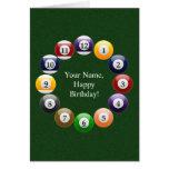 Billiard Balls Shiny Colourful Pool Snooker Sports Greeting Card