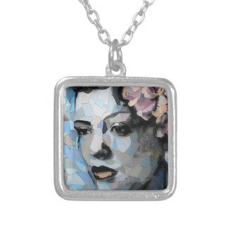 Billie Holiday contemporary portrait with a flower Square Pendant Necklace