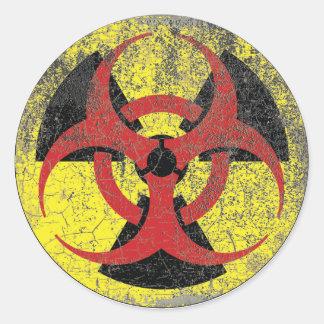 Biohazard Radiation Warning Round Sticker