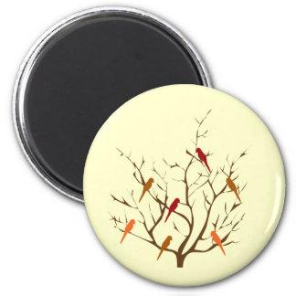 Bird Tree 6 Cm Round Magnet