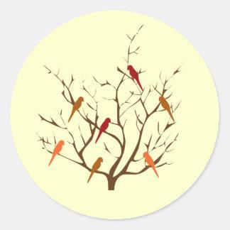 Bird Tree Round Sticker