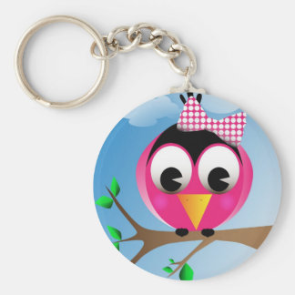 Bird with polka dotted bow basic round button key ring