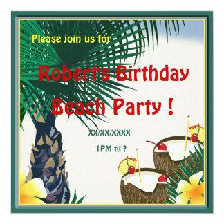 Birthday Beach Picnic Party Coconut Drink 13 Cm X 13 Cm Square Invitation Card