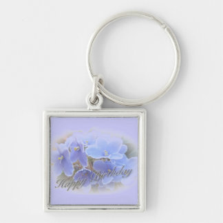 Birthday Blue African Violets Silver-Colored Square Key Ring