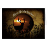 BIRTHDAY BROTHER - DEER HUNTER -sunset Greeting Card