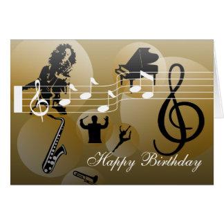 Birthday Card love Music Gold