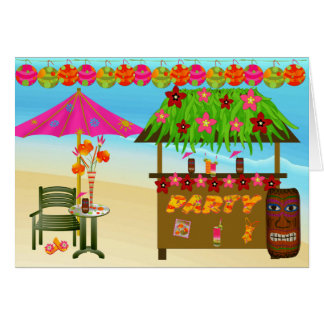 Birthday Card-Tropical Beach Party Greeting Card