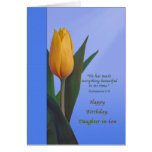 Birthday, Daughter-in-law, Golden Tulip Flower Greeting Card
