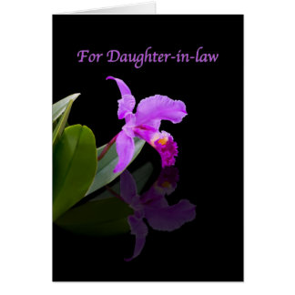 Birthday, Daughter-in-law, Orchid Reflected Greeting Card
