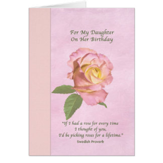 Birthday, Daughter, Peace Rose Greeting Card