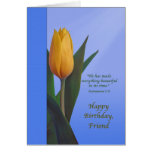 Birthday, Friend, Golden Tulip Flower Greeting Card