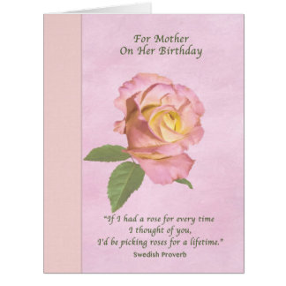 Birthday, Mother, Peace Rose Flower Big Greeting Card