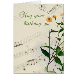 Birthday Music Notes and Wildflowers Greeting Card