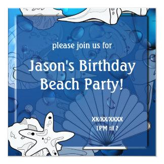 Birthday Ocean Beach Picnic Party Seashell 13 Cm X 13 Cm Square Invitation Card